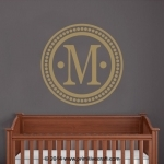 Personalized Monogram Wall Decal with Circle Dot Border