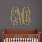 Personalized Vine Monogram Wall Decal